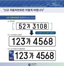 9월부터 자동차번호판 앞 숫자 3자리로 변경