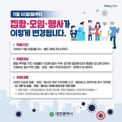 대전시, 100인 이상 일부 집합, 모임, 행사 금지