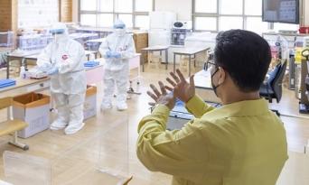 허태정 시장, 도안초등학교 이동형 임시선별검사소 현장 점검