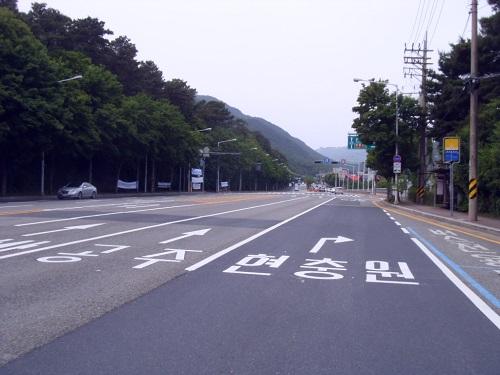 대전시 , 현충일 앞두고 현충원로 노면 재 도색.JPG